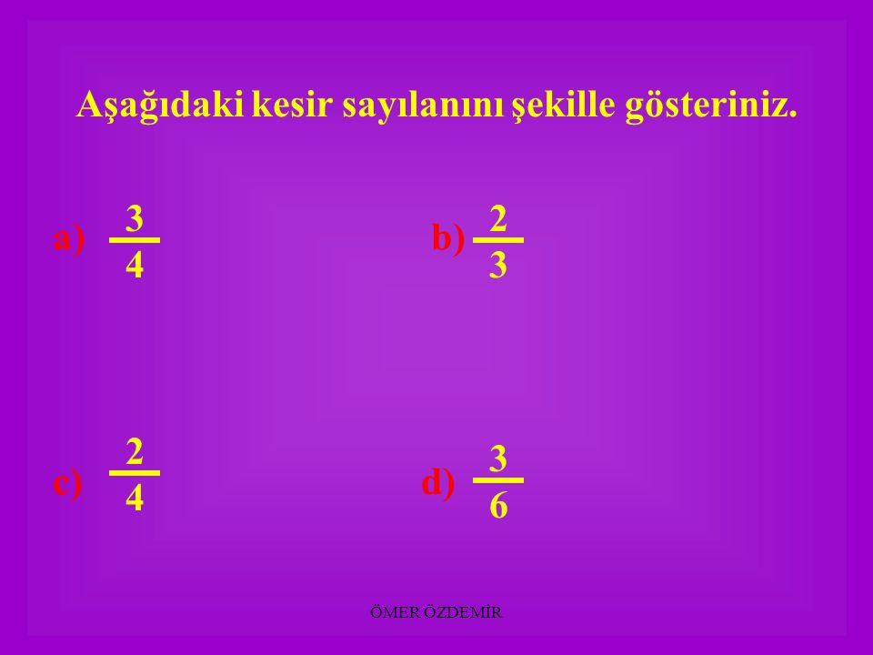 ÖMER ÖZDEMİR Aşağıdaki şekilleri kesir sayısı ile gösteriniz.