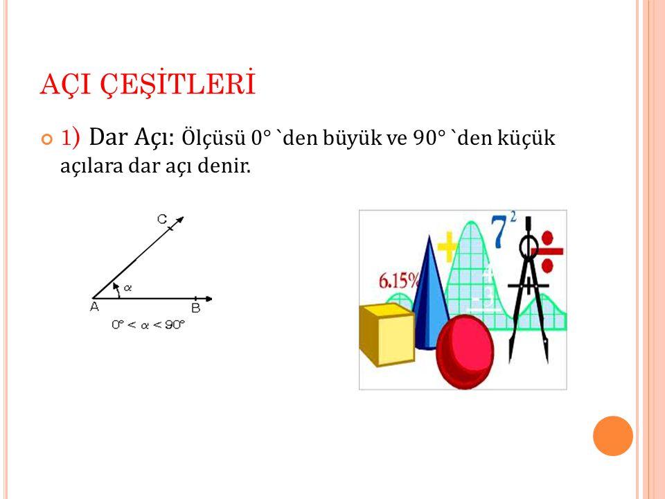 AÇI ÇEŞİTLERİ 1 ) Dar Açı: Ölçüsü 0° `den büyük ve 90° `den küçük açılara dar açı denir.