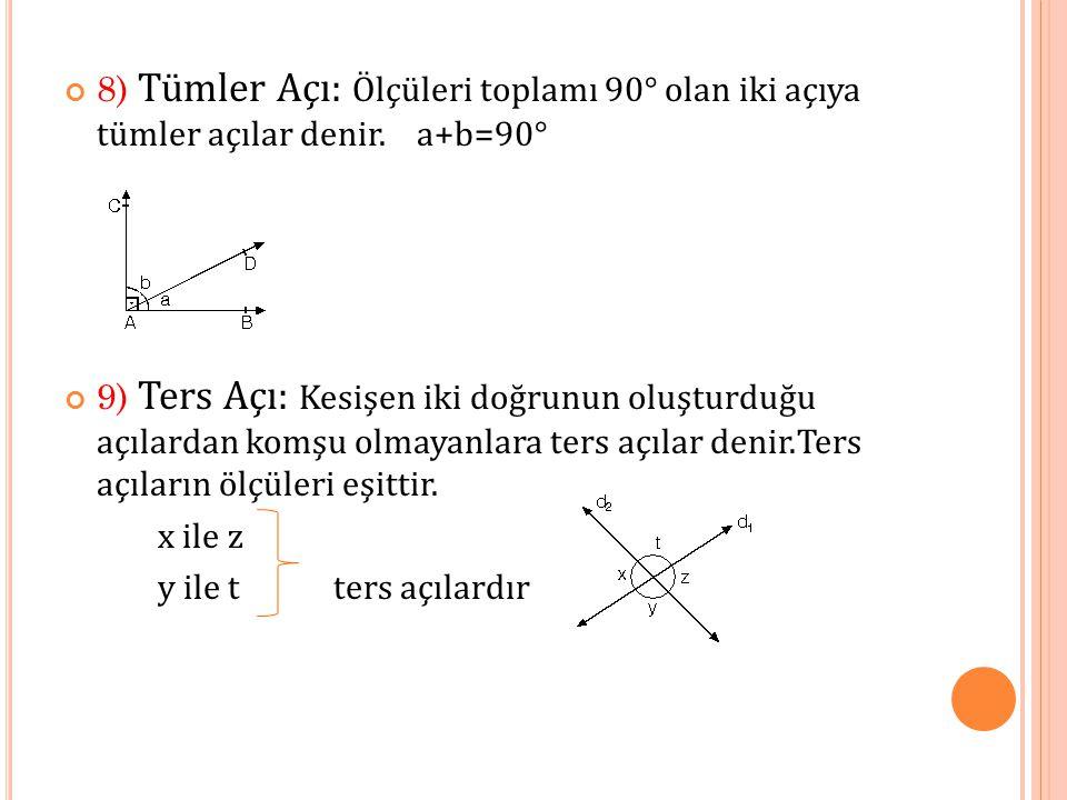 8) Tümler Açı: Ölçüleri toplamı 90° olan iki açıya tümler açılar denir.