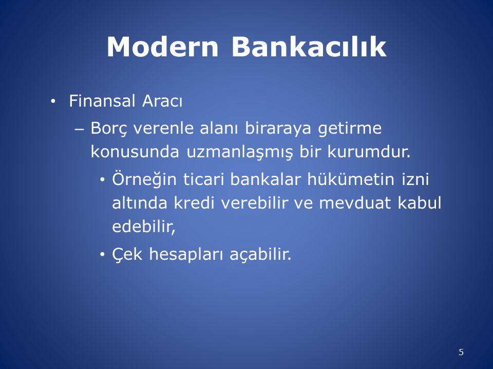 Modern Bankacılık Finansal Aracı – Borç verenle alanı biraraya getirme konusunda uzmanlaşmış bir kurumdur.