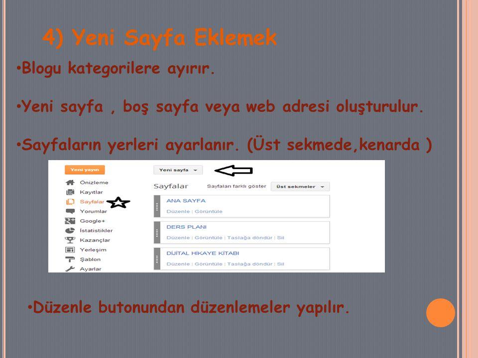 4) Yeni Sayfa Eklemek Blogu kategorilere ayırır. Yeni sayfa, boş sayfa veya web adresi oluşturulur.