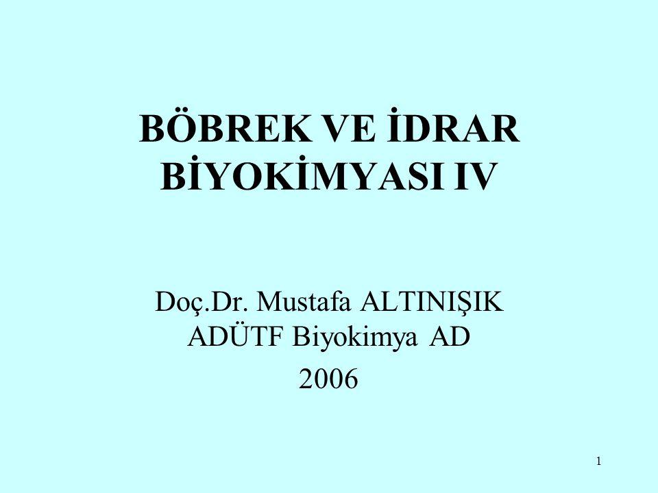 1 BÖBREK VE İDRAR BİYOKİMYASI IV Doç.Dr. Mustafa ALTINIŞIK ADÜTF Biyokimya AD 2006