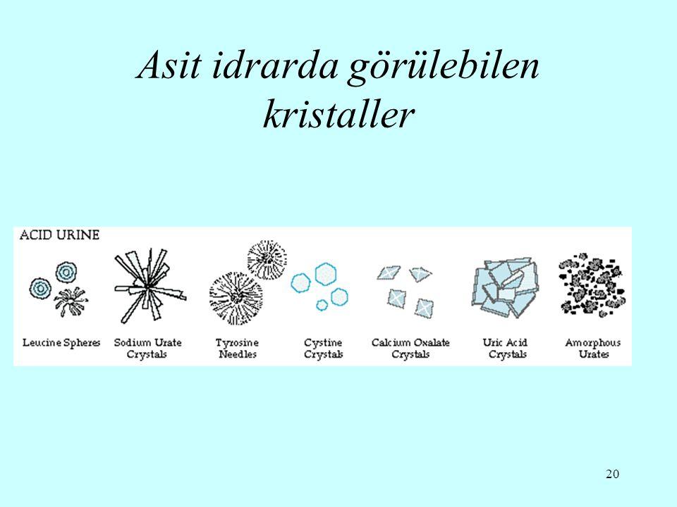 20 Asit idrarda görülebilen kristaller