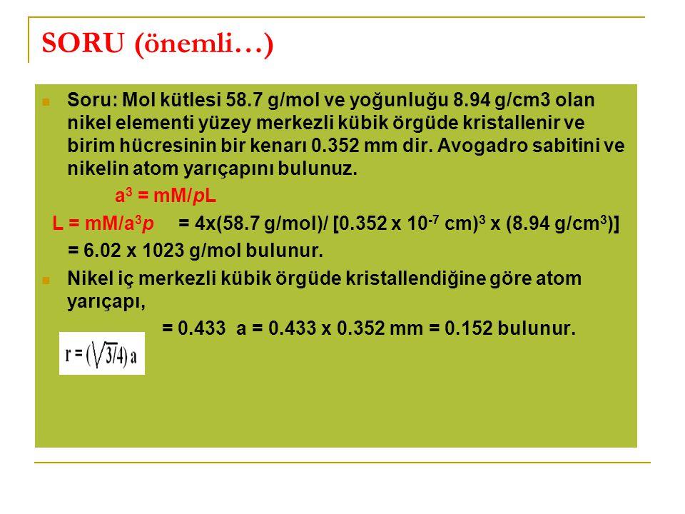 SORU (önemli…) Soru: Mol kütlesi 58.7 g/mol ve yoğunluğu 8.94 g/cm3 olan nikel elementi yüzey merkezli kübik örgüde kristallenir ve birim hücresinin b