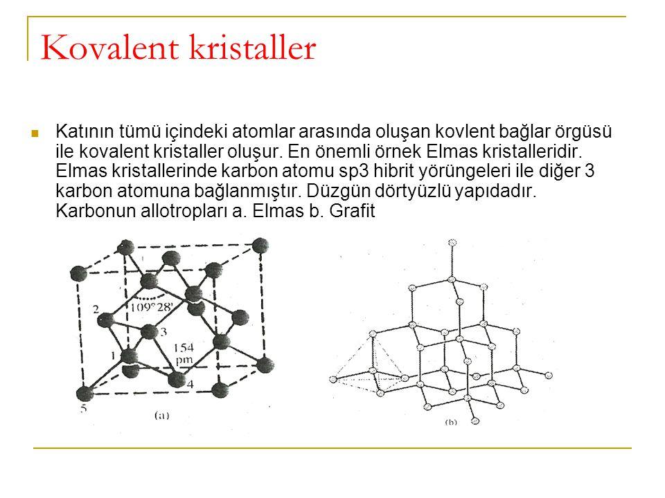 Kovalent kristaller Katının tümü içindeki atomlar arasında oluşan kovlent bağlar örgüsü ile kovalent kristaller oluşur. En önemli örnek Elmas kristall