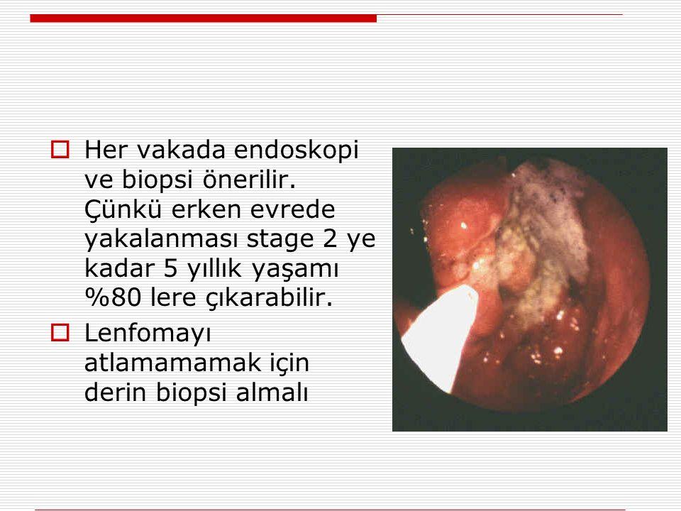  Her vakada endoskopi ve biopsi önerilir. Çünkü erken evrede yakalanması stage 2 ye kadar 5 yıllık yaşamı %80 lere çıkarabilir.  Lenfomayı atlamamam