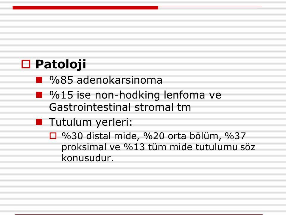  Patoloji %85 adenokarsinoma %15 ise non-hodking lenfoma ve Gastrointestinal stromal tm Tutulum yerleri:  %30 distal mide, %20 orta bölüm, %37 proks