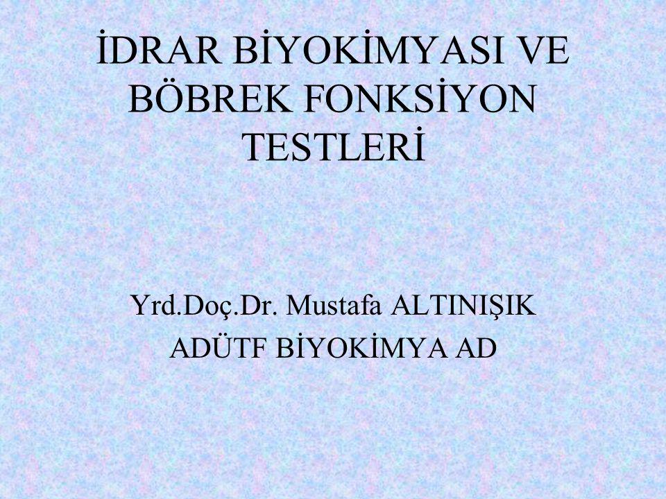 İDRAR BİYOKİMYASI VE BÖBREK FONKSİYON TESTLERİ Yrd.Doç.Dr. Mustafa ALTINIŞIK ADÜTF BİYOKİMYA AD