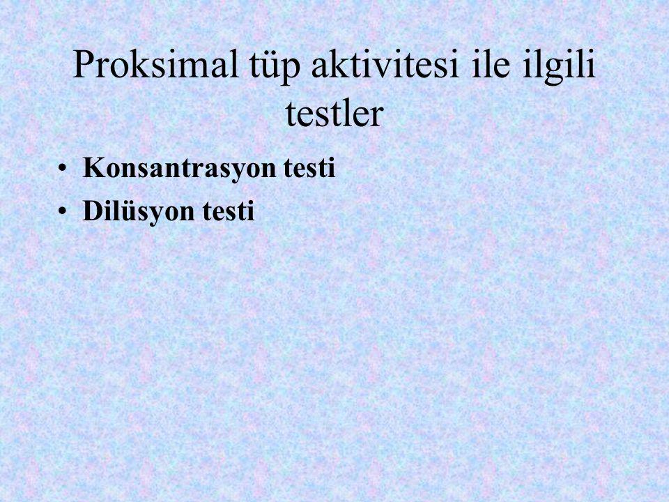 Proksimal tüp aktivitesi ile ilgili testler Konsantrasyon testi Dilüsyon testi