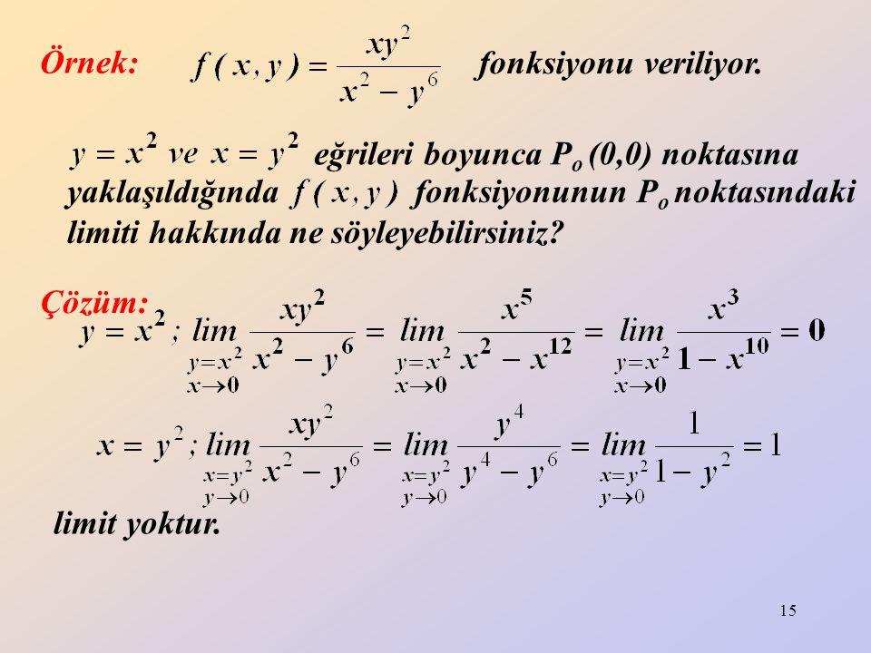15 Örnek: fonksiyonu veriliyor. eğrileri boyunca P o (0,0) noktasına yaklaşıldığında fonksiyonunun P o noktasındaki limiti hakkında ne söyleyebilirsin