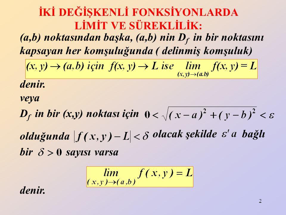 2 İKİ DEĞİŞKENLİ FONKSİYONLARDA LİMİT VE SÜREKLİLİK: (a,b) noktasından başka, (a,b) nin D f in bir noktasını kapsayan her komşuluğunda ( delinmiş komş