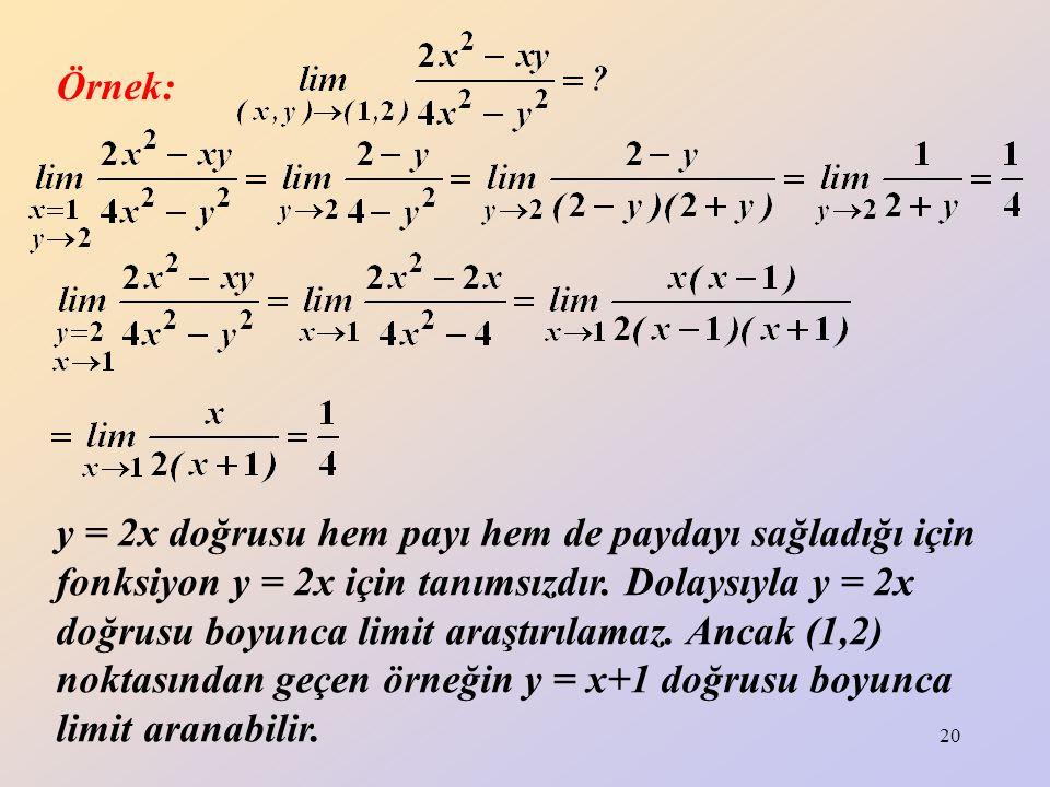 20 y = 2x doğrusu hem payı hem de paydayı sağladığı için fonksiyon y = 2x için tanımsızdır. Dolaysıyla y = 2x doğrusu boyunca limit araştırılamaz. Anc