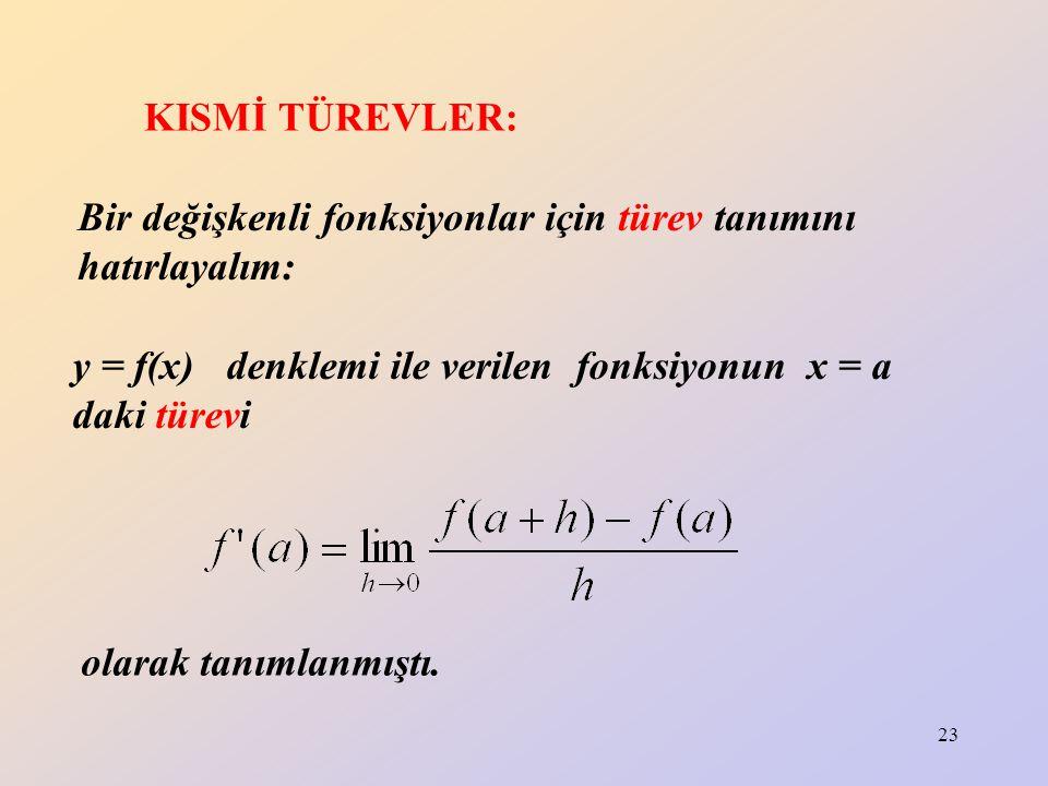 23 KISMİ TÜREVLER: Bir değişkenli fonksiyonlar için türev tanımını hatırlayalım: y = f(x) denklemi ile verilen fonksiyonun x = a daki türevi olarak ta