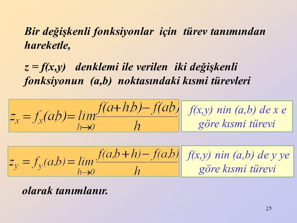 25 Bir değişkenli fonksiyonlar için türev tanımından hareketle, z = f(x,y) denklemi ile verilen iki değişkenli fonksiyonun (a,b) noktasındaki kısmi tü