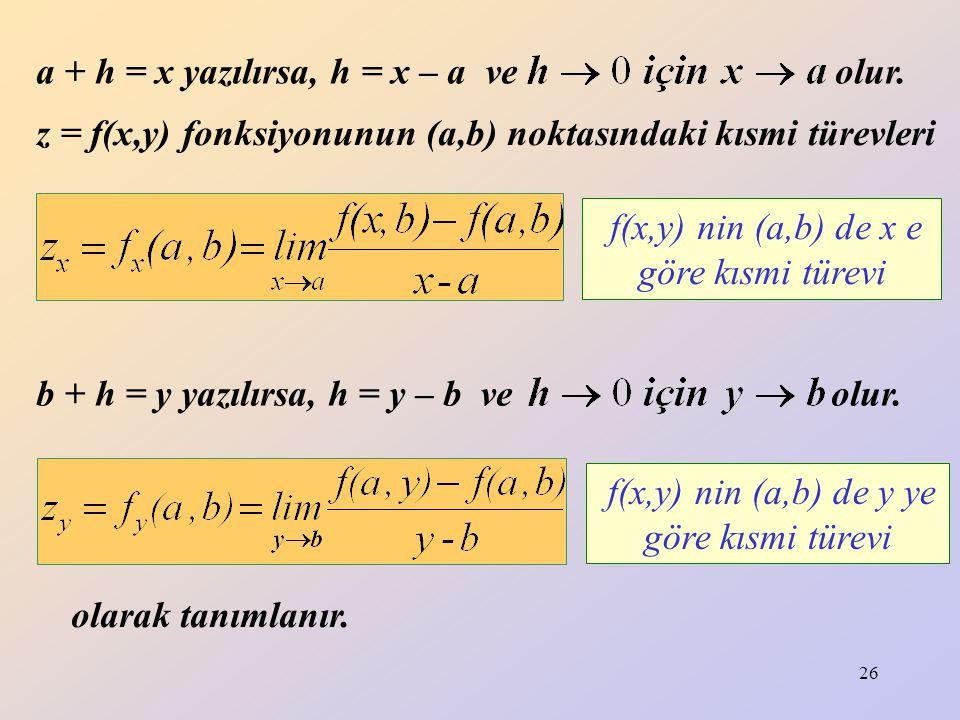 26 z = f(x,y) fonksiyonunun (a,b) noktasındaki kısmi türevleri olarak tanımlanır. f(x,y) nin (a,b) de x e göre kısmi türevi f(x,y) nin (a,b) de y ye g
