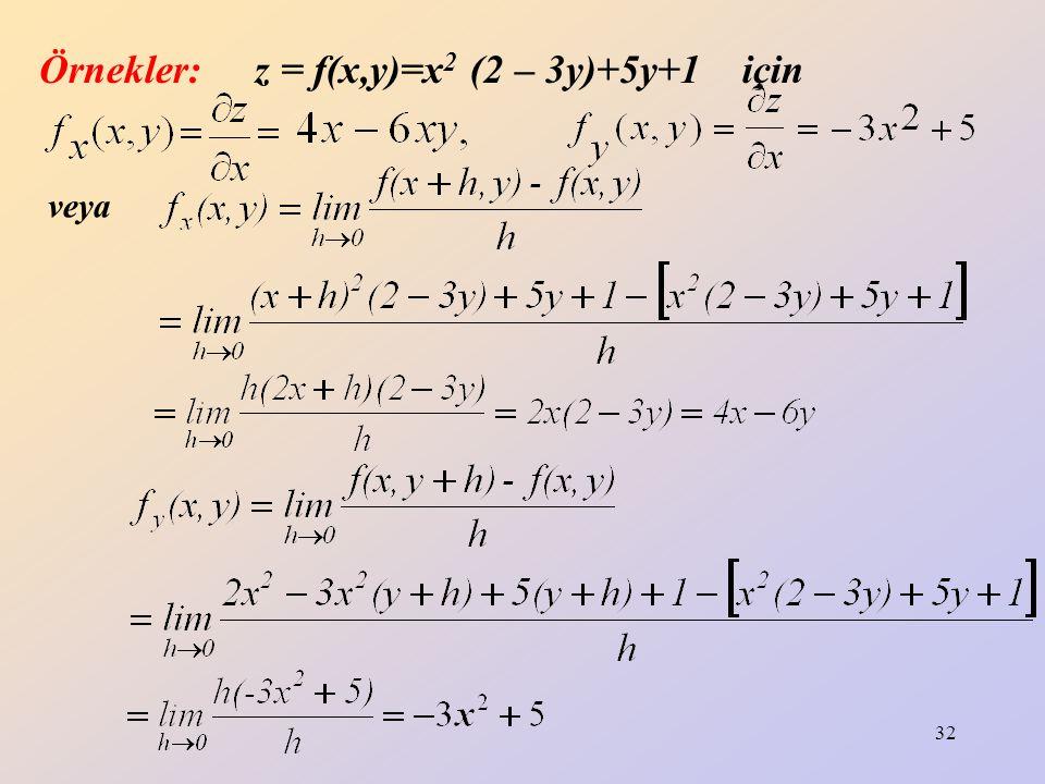32 Örnekler: z = f(x,y)=x 2 (2 – 3y)+5y+1 için veya