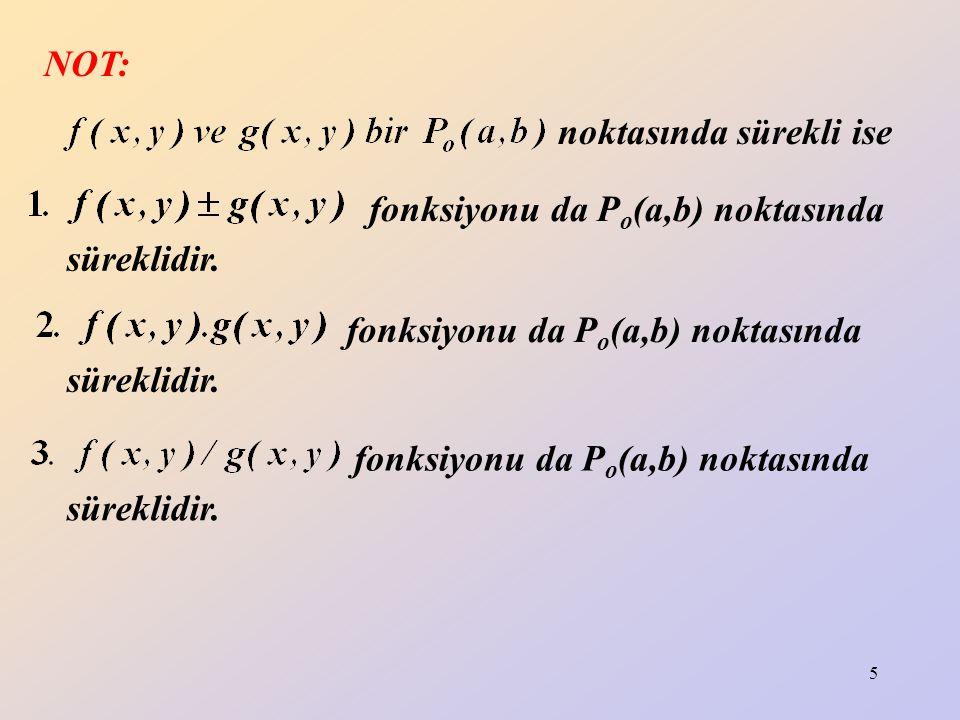 5 NOT: noktasında sürekli ise fonksiyonu da P o (a,b) noktasında süreklidir. fonksiyonu da P o (a,b) noktasında süreklidir. fonksiyonu da P o (a,b) no