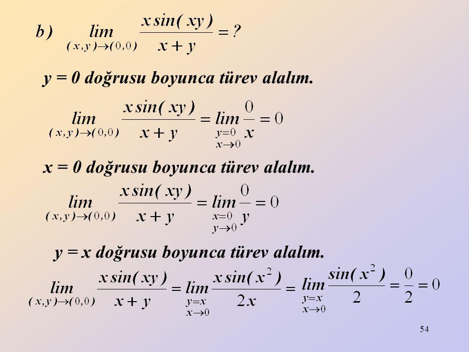 54 y = 0 doğrusu boyunca türev alalım. y = x doğrusu boyunca türev alalım. x = 0 doğrusu boyunca türev alalım.