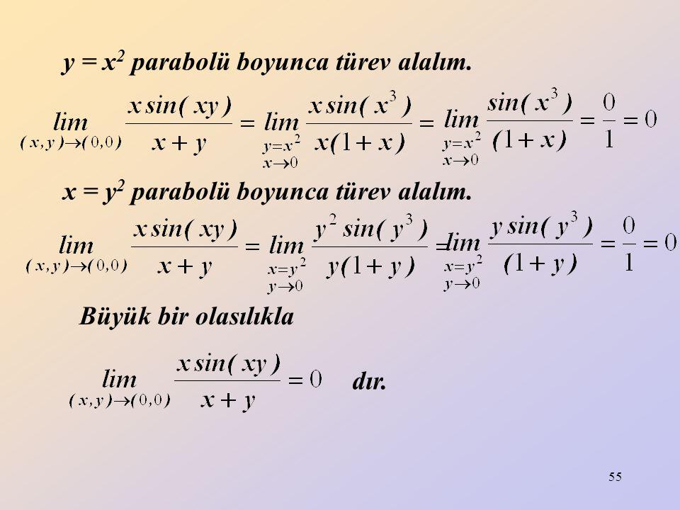 55 y = x 2 parabolü boyunca türev alalım. Büyük bir olasılıkla x = y 2 parabolü boyunca türev alalım. dır.