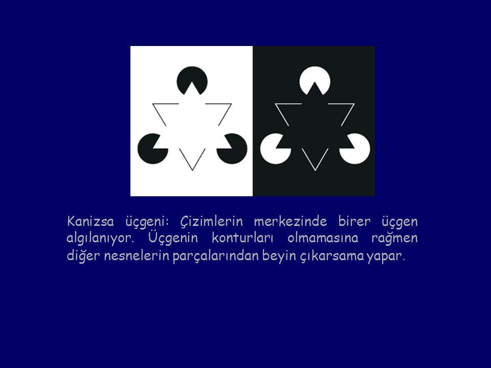 Kanizsa üçgeni: Çizimlerin merkezinde birer üçgen algılanıyor. Üçgenin konturları olmamasına rağmen diğer nesnelerin parçalarından beyin çıkarsama yap
