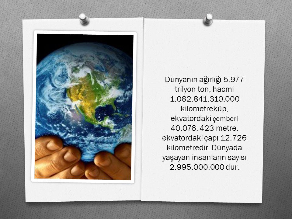 Dünyanın a ğ ırlı ğ ı 5.977 trilyon ton, hacmi 1.082.841.310.000 kilometreküp, ekvatordaki çemberi 40.076.