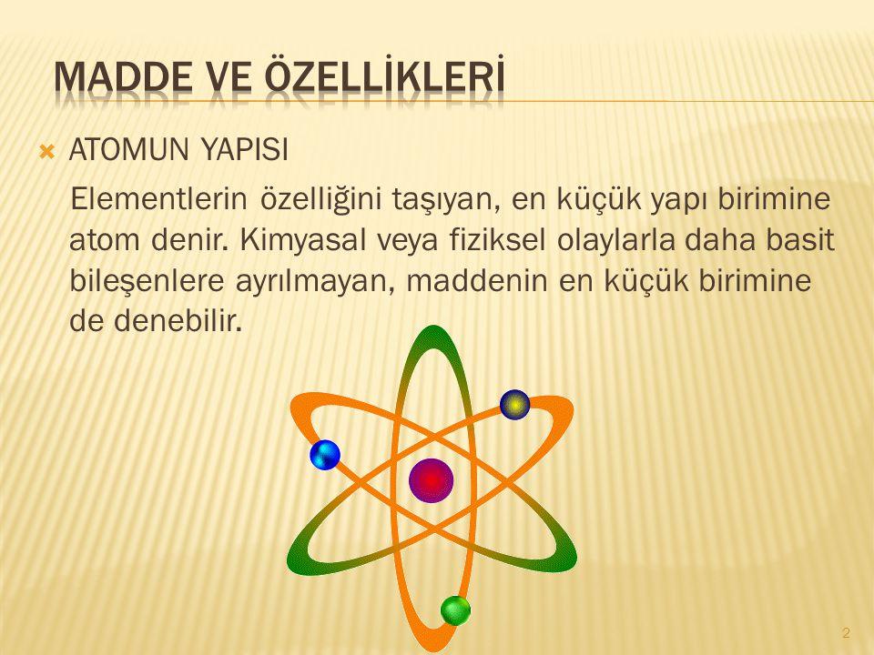  ATOMUN YAPISI Elementlerin özelliğini taşıyan, en küçük yapı birimine atom denir. Kimyasal veya fiziksel olaylarla daha basit bileşenlere ayrılmayan