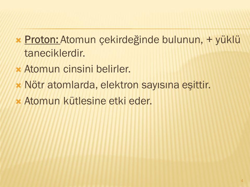  Proton: Atomun çekirdeğinde bulunun, + yüklü taneciklerdir.  Atomun cinsini belirler.  Nötr atomlarda, elektron sayısına eşittir.  Atomun kütlesi