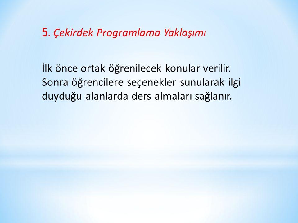 5. Çekirdek Programlama Yaklaşımı İlk önce ortak öğrenilecek konular verilir. Sonra öğrencilere seçenekler sunularak ilgi duyduğu alanlarda ders almal