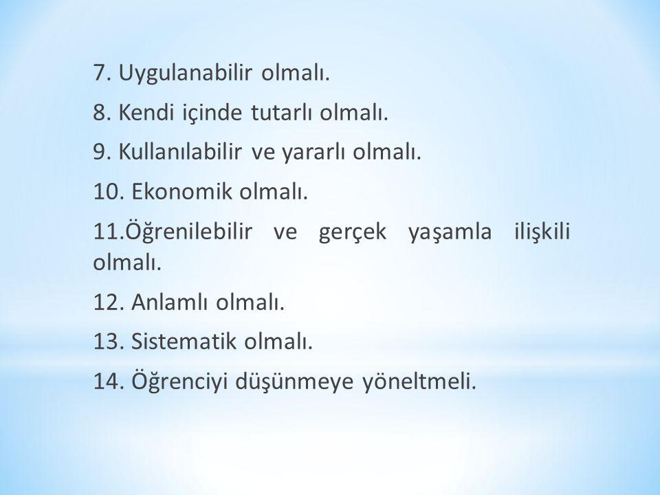 7. Uygulanabilir olmalı. 8. Kendi içinde tutarlı olmalı. 9. Kullanılabilir ve yararlı olmalı. 10. Ekonomik olmalı. 11.Öğrenilebilir ve gerçek yaşamla