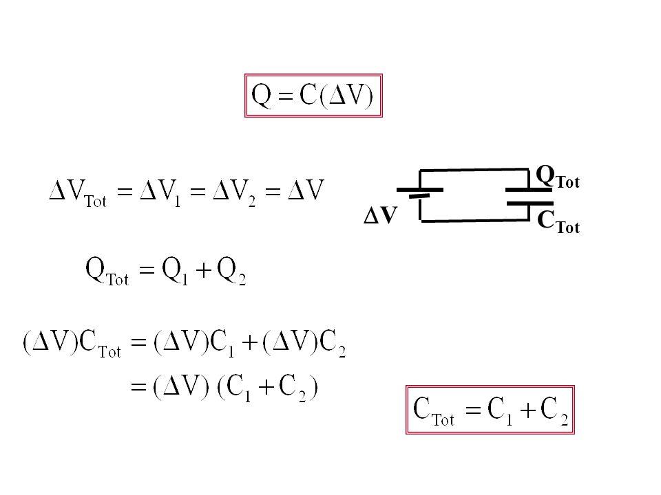 Paralel Bağlı Kapasitörler Tek kapasitör bağlanmış olarak; C VV VV C1C1 C2C2 Q1Q1 Q2Q2 Q Tot VV C Tot İki üst plaka bir kablo ile bağlanmış olarak düşünürsek, tek plaka varmış…
