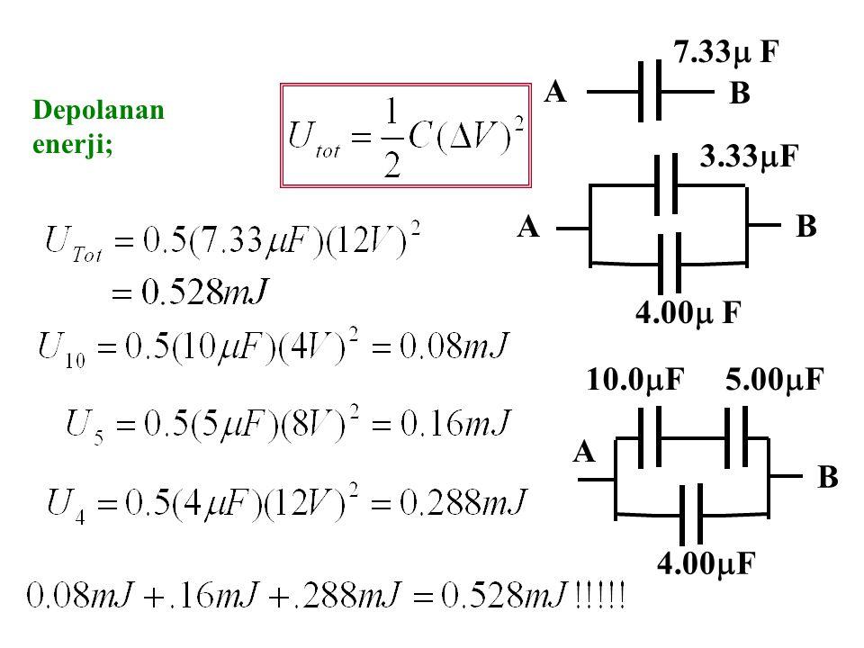 AB 3.33  F 4.00  F A B 7.33  F 12 V potansiyel farkı uygulanırsa, B 10.0  F5.00  F 4.00  F A