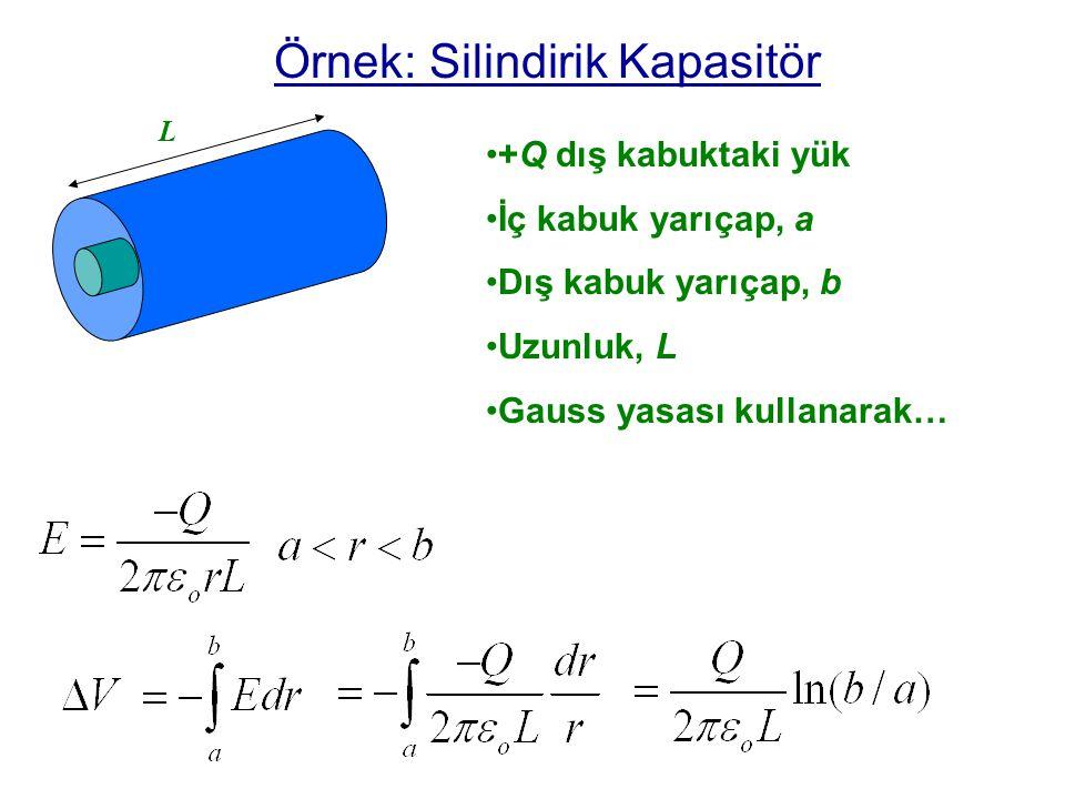 Özellikleri C, kapasitörün geometrisine bağlı C>0 Birim: C=Q/  V coulomb/volt 1 Farad = Coulomb/volt pF, nF, or  F Q VV +Q -Q _ _ _ _ _ _ _ _ _ _ _ _ _ _ _ _ _ _ _ _ _ _