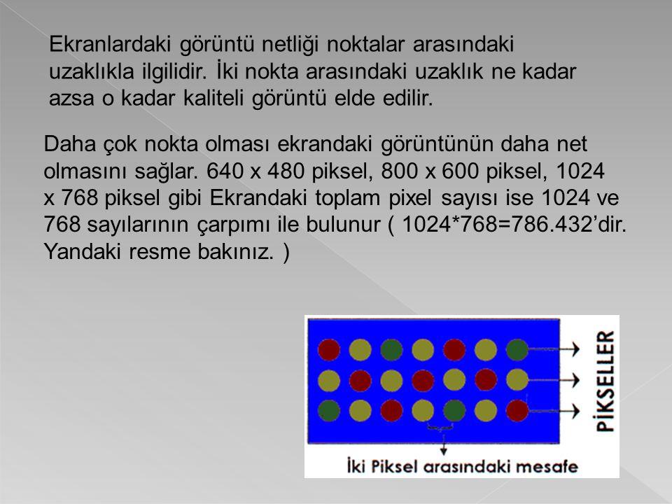 Ekranlardaki görüntü netliği noktalar arasındaki uzaklıkla ilgilidir. İki nokta arasındaki uzaklık ne kadar azsa o kadar kaliteli görüntü elde edilir.