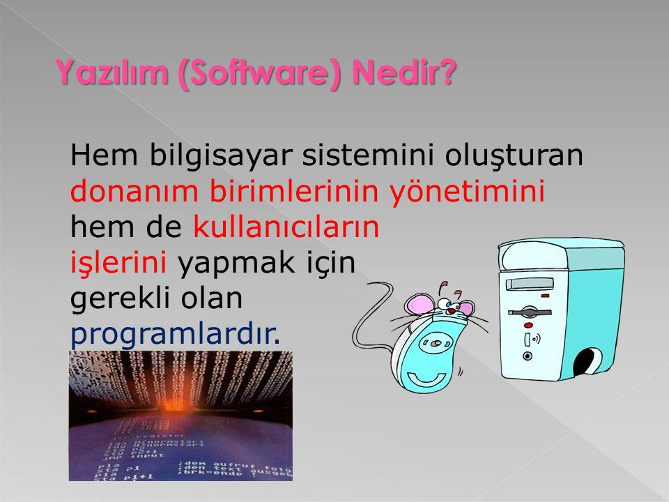 Yazılım (Software) Nedir? Hem bilgisayar sistemini oluşturan donanım birimlerinin yönetimini hem de kullanıcıların işlerini yapmak için gerekli olan p