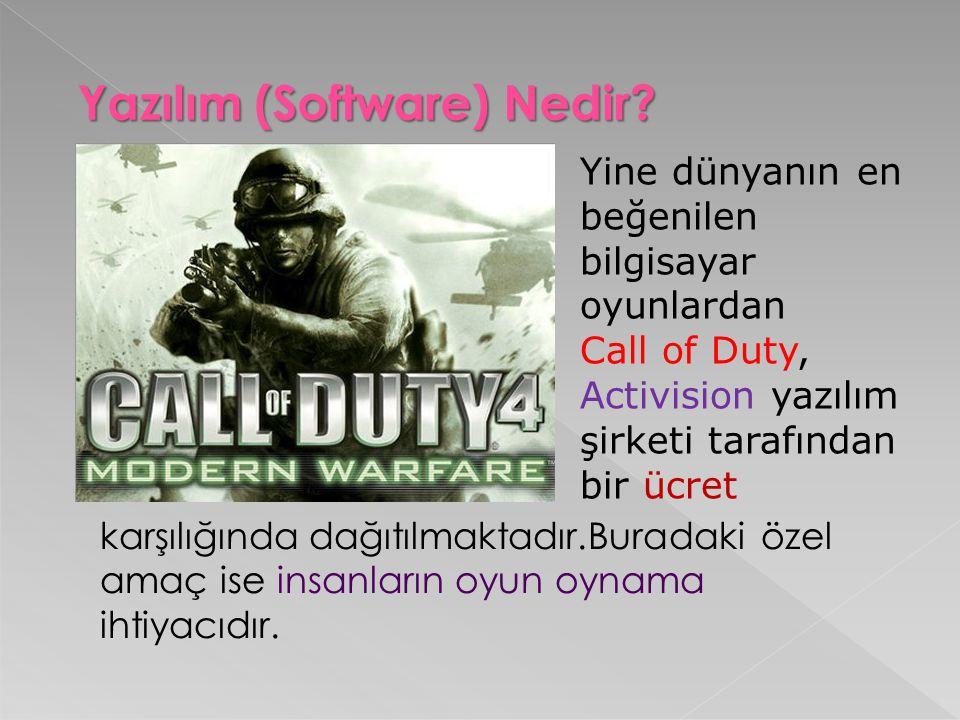 Yazılım (Software) Nedir? Yine dünyanın en beğenilen bilgisayar oyunlardan Call of Duty, Activision yazılım şirketi tarafından bir ücret karşılığında