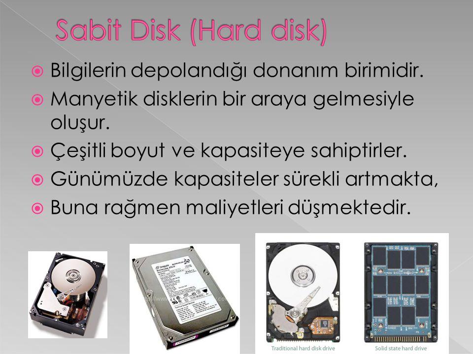  Sabit disklerin bilgi okuma yazma hızları dakikada ki devir sayısına göre belirlenir.