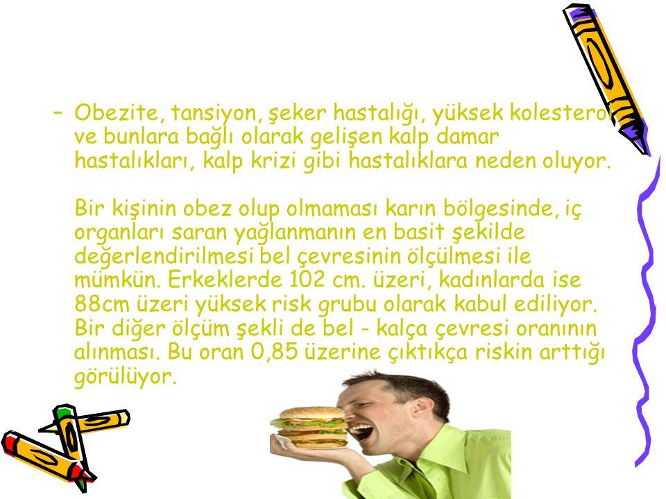 –Obezite, tansiyon, şeker hastalığı, yüksek kolesterol ve bunlara bağlı olarak gelişen kalp damar hastalıkları, kalp krizi gibi hastalıklara neden olu