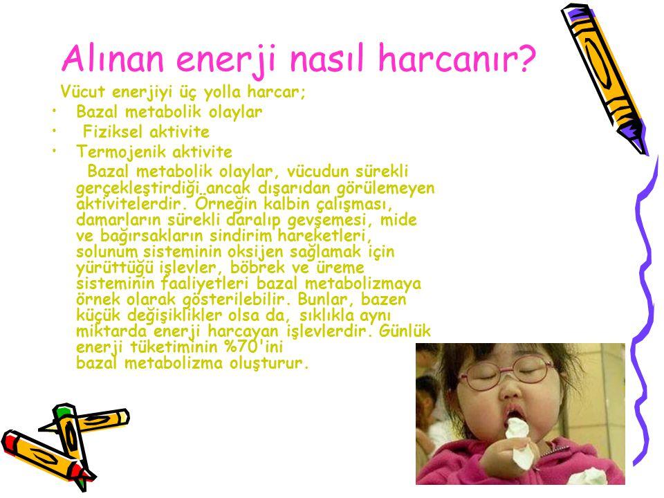 Alınan enerji nasıl harcanır? Vücut enerjiyi üç yolla harcar; Bazal metabolik olaylar Fiziksel aktivite Termojenik aktivite Bazal metabolik olaylar, v
