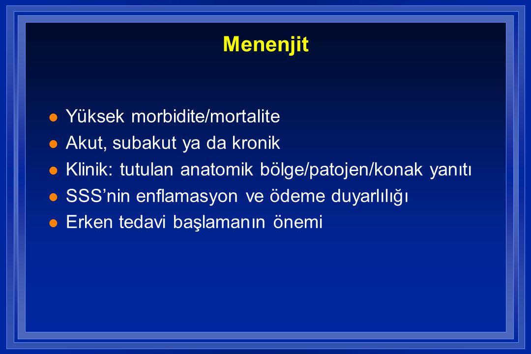 Menenjit l Yüksek morbidite/mortalite l Akut, subakut ya da kronik l Klinik: tutulan anatomik bölge/patojen/konak yanıtı l SSS'nin enflamasyon ve ödem