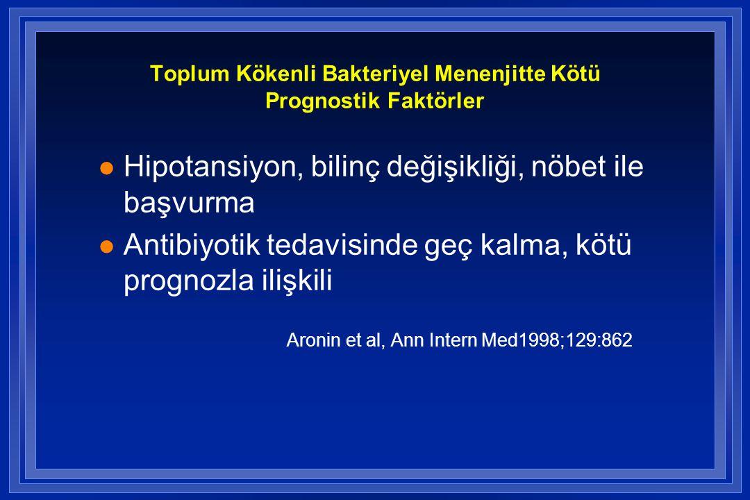 Toplum Kökenli Bakteriyel Menenjitte Kötü Prognostik Faktörler l Hipotansiyon, bilinç değişikliği, nöbet ile başvurma l Antibiyotik tedavisinde geç ka