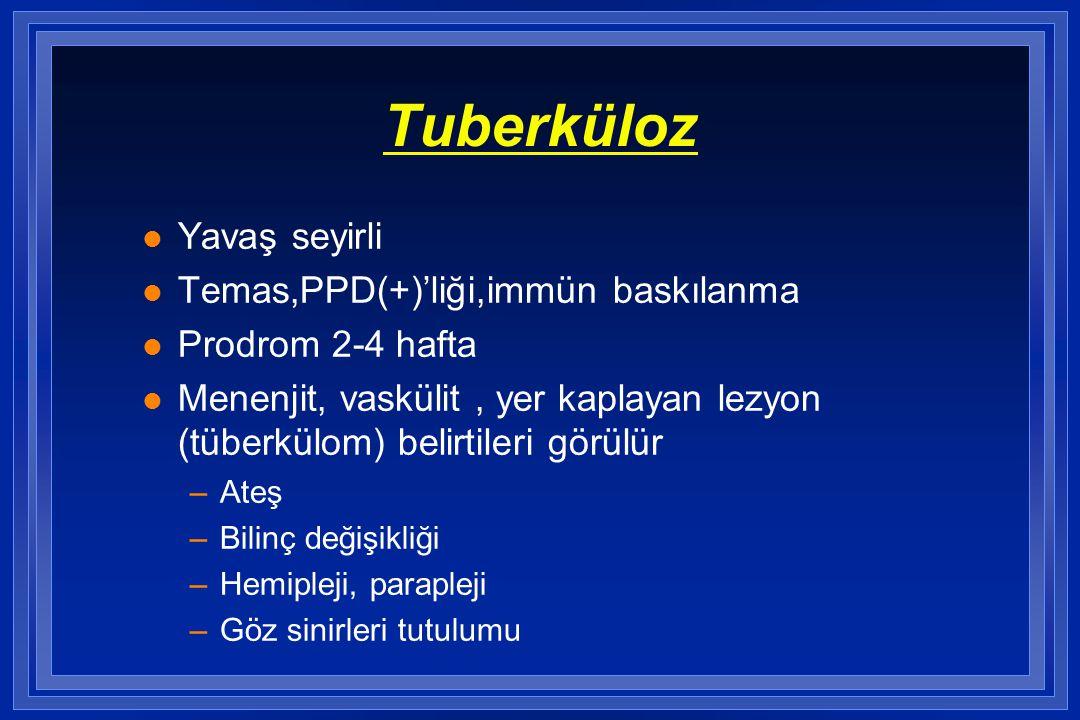 Tuberküloz l Yavaş seyirli l Temas,PPD(+)'liği,immün baskılanma l Prodrom 2-4 hafta l Menenjit, vaskülit, yer kaplayan lezyon (tüberkülom) belirtileri