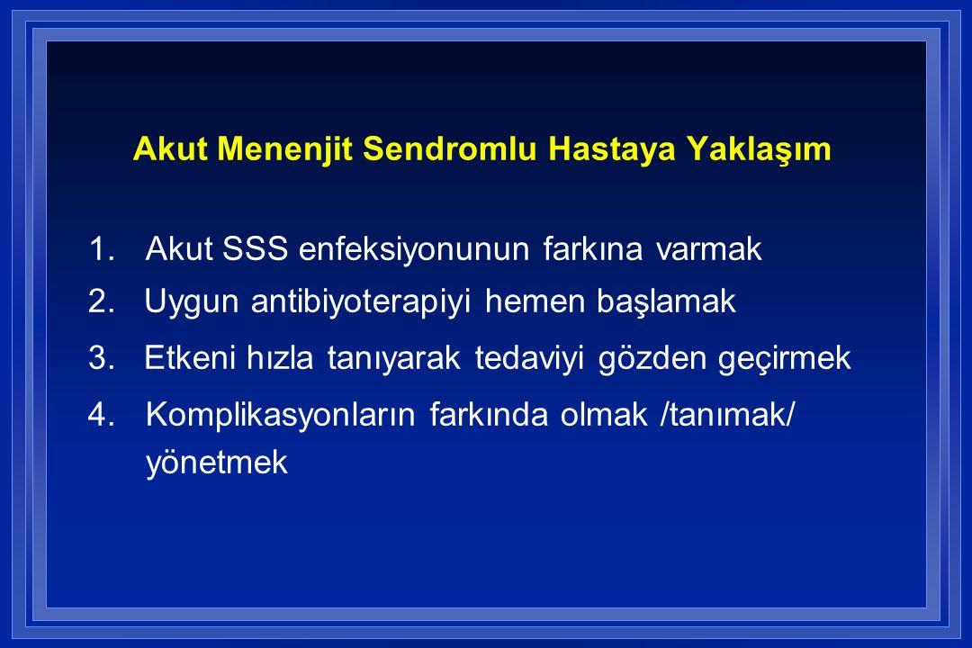 Akut Menenjit Sendromlu Hastaya Yaklaşım 1.Akut SSS enfeksiyonunun farkına varmak 2. Uygun antibiyoterapiyi hemen başlamak 3. Etkeni hızla tanıyarak t