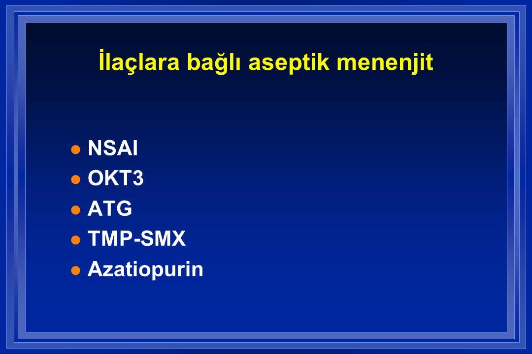 İlaçlara bağlı aseptik menenjit l NSAI l OKT3 l ATG l TMP-SMX l Azatiopurin