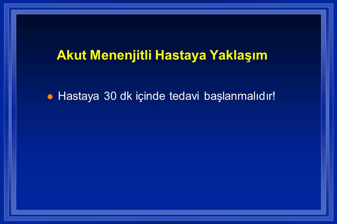 Akut Menenjitli Hastaya Yaklaşım l Hastaya 30 dk içinde tedavi başlanmalıdır!
