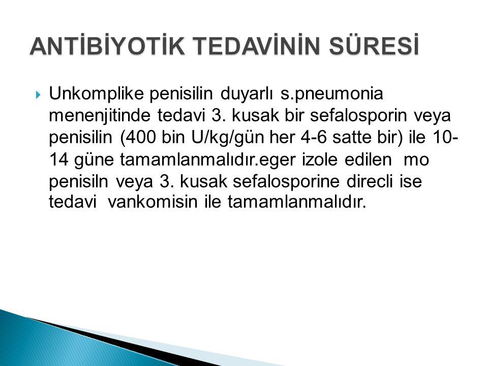 Unkomplike penisilin duyarlı s.pneumonia menenjitinde tedavi 3. kusak bir sefalosporin veya penisilin (400 bin U/kg/gün her 4-6 satte bir) ile 10- 1