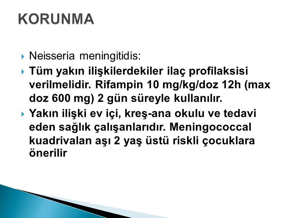  Neisseria meningitidis:  Tüm yakın ilişkilerdekiler ilaç profilaksisi verilmelidir. Rifampin 10 mg/kg/doz 12h (max doz 600 mg) 2 gün süreyle kullan