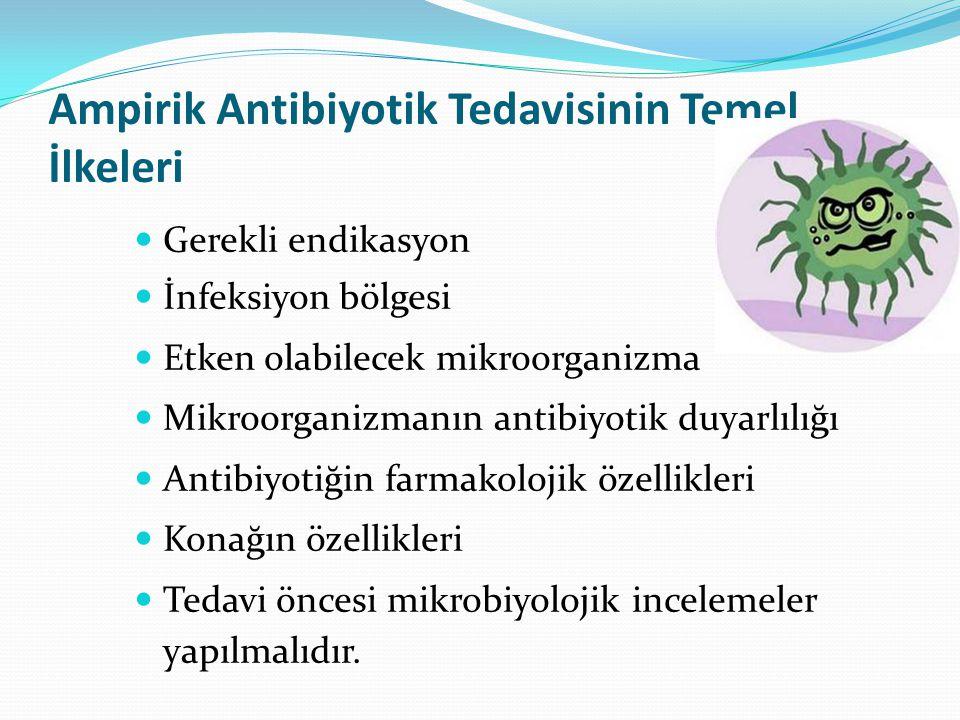 Ampirik Antibiyotik Tedavisinin Temel İlkeleri Gerekli endikasyon İnfeksiyon bölgesi Etken olabilecek mikroorganizma Mikroorganizmanın antibiyotik duyarlılığı Antibiyotiğin farmakolojik özellikleri Konağın özellikleri Tedavi öncesi mikrobiyolojik incelemeler yapılmalıdır.