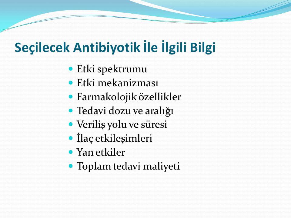 Seçilecek Antibiyotik İle İlgili Bilgi Etki spektrumu Etki mekanizması Farmakolojik özellikler Tedavi dozu ve aralığı Veriliş yolu ve süresi İlaç etkileşimleri Yan etkiler Toplam tedavi maliyeti