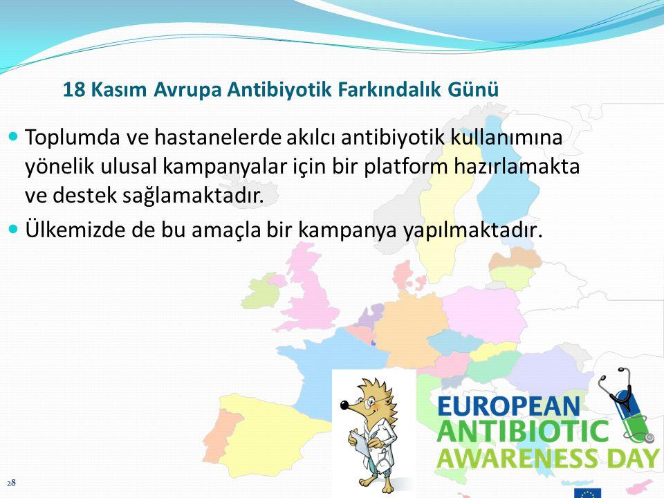 18 Kasım Avrupa Antibiyotik Farkındalık Günü Toplumda ve hastanelerde akılcı antibiyotik kullanımına yönelik ulusal kampanyalar için bir platform hazırlamakta ve destek sağlamaktadır.