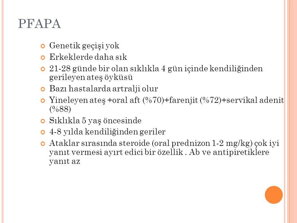 PFAPA Genetik geçişi yok Erkeklerde daha sık 21-28 günde bir olan sıklıkla 4 gün içinde kendiliğinden gerileyen ateş öyküsü Bazı hastalarda artralji o